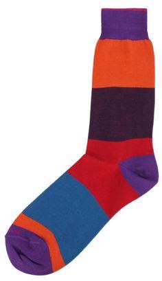 Mens Socks   Purple/Multi-colour Socks   @ KJ Beckett #mens #socks #striped #cosy