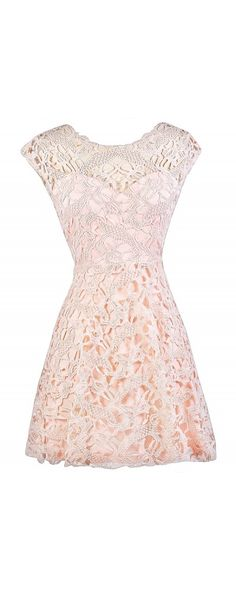 Lily Boutique All About That Lace A-Line Dress in Pale Pink, $40 Light Pink Lace Dress, Pale Pink Lace Dress, Pink Lace A-Line Dress, Pink Lace Party Dress, Cute Pink Dress www.lilyboutique.com