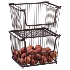 Large York Open Stack Basket - The Container Store $24.99 each. Really want these for potatoes & onions in the new pantry!