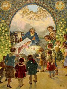 Joy to the world, What a Beautiful Vintage Christmas Card with celebrating the true meaning of Christmas with baby Jesus