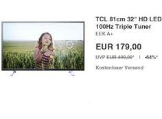 """Ebay: LED-TV TCL H32B3805 mit Triple-Tuner und LAN für 179 Euro frei Haus https://www.discountfan.de/artikel/technik_und_haushalt/17231.php Mit dem TCL H32B3805 ist bei Ebay als """"Wow! des Tages"""" ein LED-Fernseher mit Triple-Tuner und Netzwerkanschluss sowie einer Diagonale von 81 Zentimetern (32 Zoll) für 179 Euro frei Haus zu haben. Ebay: LED-TV TCL H32B3805 mit Triple-Tuner und LAN für 179 Euro frei Haus (Bild: E... #LedTv, #TripleTuner"""