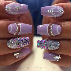Glitter from @glitter_heaven_australia #lavendernails #youngnails #hahanails…