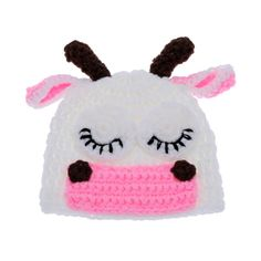 Cute Cow Infant Baby Soft Crochet Knit Cotton Costume Hat Accessory for Photography Prop Outfits