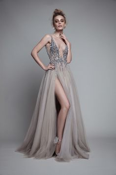 New Sexy Gray Paolo Sebastian Prom Dresses 2018 Deep V Neck Sequins Crystal High Split Backless Long Evening Gowns Prom Party Dress Custom Evening Dresses For Weddings, Prom Dresses, Formal Dresses, Dress Prom, Wedding Gowns, Tulle Dress, Dress Long, Gown Dress, Short Evening Dresses