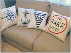 Nautical or Monogrammed Throw Pillow Covers by kyistitches on Etsy