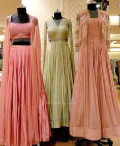 Beautiful Gowns with superb embellishments. Lehenga Crop Top, Floral Lehenga, Cape Lehenga, Pink Lehenga, Anarkali, Indian Attire, Indian Ethnic Wear, Ethnic Outfits, Indian Outfits