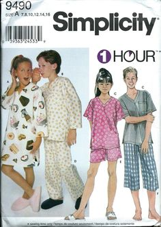 Simplicity 9490 Girls & Boys 1 Hour Loungewear Pattern, Pajamas, Size 7-16, UNCUT by DawnsDesignBoutique on Etsy