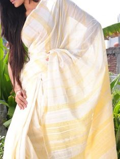Ivory-Yellow Saree with Stripes