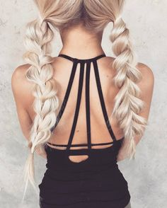 two sided reverse braided   long hair styles   girls   easy   bohemian   messy   cute   pigtails   bleach   blonde