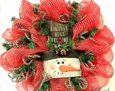 Christmas Deco Mesh Wreath Joy Christmas by WreathsEtcbyLisa