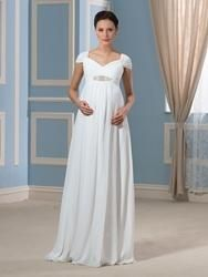 EricDress - EricDress Ericdress Pretty V Neck Cap Sleeves Beadings Chiffon Maternity Dress - AdoreWe.com