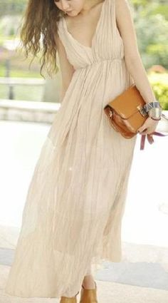 FREE SHIPPING Deep V-neck Bouffant Design Long Dress Apricot