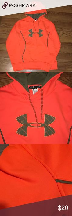 Under armour hoodie Orange UA Hoodie,size medium has spot on arm as shown in picture 😊 Under Armour Jackets & Coats