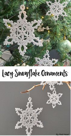 Lacy Snowflake Ornaments free crochet pattern in Aunt Lydia's Crochet Thread.