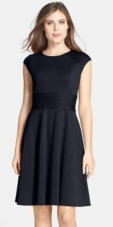 Wednesday's Workwear Report: Pintucked Waist Seamed Ponte Knit Fit & Flare Dress #styled247