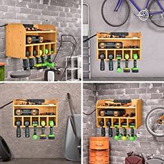 Power Tool Organizer, Sunix Power Tool Charging Station Drill Wall Holder Wall Mount Tools Garage Storage (Power Strip is Not Included) – Power Tools On Sale Tool Wall Storage, Storage Shed Organization, Power Tool Storage, Garage Storage Shelves, Workshop Storage, Power Tools, Workshop Ideas, Garage Workshop, Food Storage