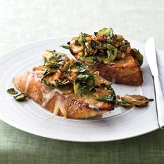 Brussels Sprouts and Smoky Onions on Cheddar Toast