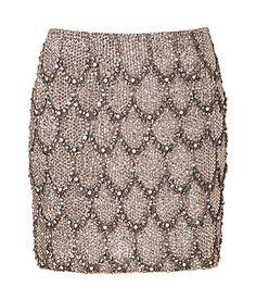 COLLETTE DINNIGAN  Moonstone Crystal Beaded Silk Skirt