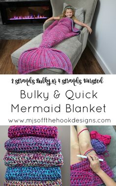 Bulky & Quick Mermaid Blanket pattern by MJ's Off The Hook Designs – Crochet Blanket İdeas. Crochet Mermaid Tail Pattern, Mermaid Tail Blanket Pattern, Crochet Mermaid Blanket, Crochet Blanket Patterns, Crochet Blankets, Mermaid Afghan, Mermaid Baby Blanket, Chunky Crochet, Knit Crochet