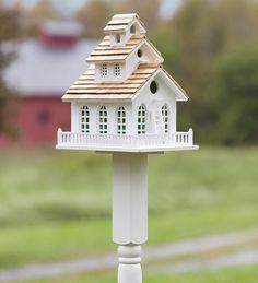 Wooden Steeple Birdhouse And Pedestal Pole Set