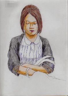 『腕を組んで寝ていたお姉さん(通勤電車でスケッチ)』 It is a sketch of the woman of black cardigan. I drew on the train going to work towards the company.