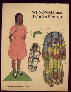 Native American paper doll ca.1933  - Wenonah Indian Friend