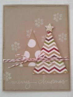 """Endless Wishes Stamp Set and triangle """"Christmas Trees"""" made with the Perfect Pennants Bigz Die from Stampin' Up!"""