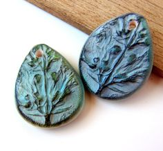 Handmade Polymer Clay Earring TearDrops Beads - Porcelain Series by BeadsByEarthTones on Etsy