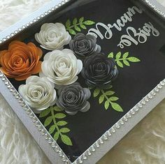 Diy Crafts - Paper flower Shadow Box Paper flowers Home Decor Framed Flower Shadow Box, Diy Shadow Box, Flower Frame, Flower Boxes, Shadow Box Frames, Rolled Paper Flowers, Paper Flowers Diy, Flower Crafts, Felt Flowers