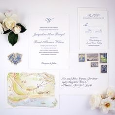 Letterpress Suite with Custom Watercolor Map of Santa Barbara – Honey Paper Wedding Invitation Suite, Elegant Wedding Invitations, Letterpress Wedding Stationery, Map Projects, Watercolor Map, Custom Map, Bridezilla, Vintage Stamps, Wedding Weekend