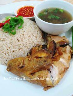 Nasi ayam Hainan yang gurih, sedap dan mantap dengan jamur shiitake