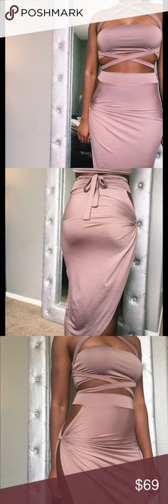 3-piece sexy skirt set - multiple wrap Bandeau top High slit Midi Stretch Cotton, polyester, spandex True to size Model is wearing size small Form fitting Haus of Layers Skirts Midi