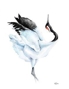 ARTFINDER: Red-crowned Crane,  bird, birds, anim... by Karolina Kijak - Original watercolors of Crane Paper 300g,  100% cotton size 32x41cm  Follow me on facebook: https://www.facebook.com/kijakwatercolors