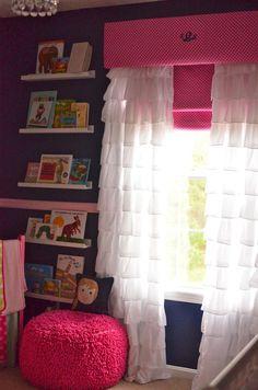 Bookshelf with window valence, complete with monogram!