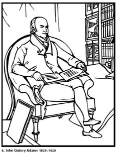 john quincy our 6th president of the united states free printable coloring sheet click