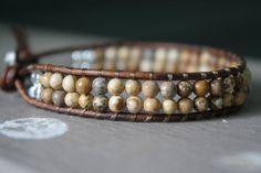 Boho leather wrap bracelet  bohemian stackable by BlueHarbor, $30.00