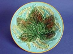 George Jones Majolica 'Maple Leaf and Fern' Pattern 2584 Plate c1870