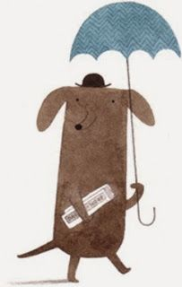 Christine Pym dachshund umbrella illustration
