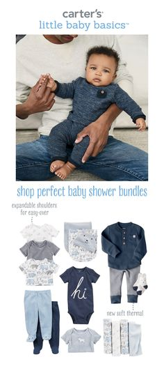 Shop the perfect baby boy baby shower gift sets. From bodysuits to sleepwear and blankets, Carter's is your one stop shop for baby shower bundles!