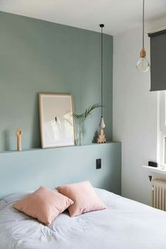 Marvelous Tricks: Chic Minimalist Bedroom Lamps minimalist home inspiration woods.Minimalist Bedroom Interior Sleep minimalist home inspiration house tours.Colorful Minimalist Home Stairs. Interior, Home, Bedroom Interior, Sage Green Walls, Bedroom Green, House Interior, Minimalist Bedroom, Bedroom Wall, Interior Design