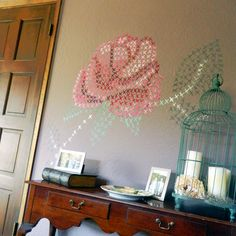 Painted Cross Stitch Wall Mural DIY.  When I have my own house, I'm doing thins.