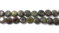 Dragon Blood Jasper Flat Round Beads  10 mm by brooksbeads on Etsy, $4.50