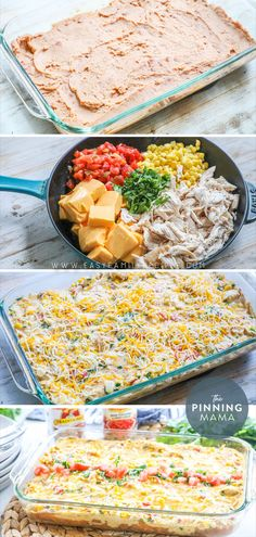 BEST DINNER EVER! This Queso Chicken Casserole is what dreams are made of. Loaded with melted cheese Rotel tomatoes refried beans and tender chicken this easy to make casserole is both quick and delicious. If you love comfort food this recipe is perfect! I Love Food, Good Food, Yummy Food, Tasty, Casserole Dishes, Casserole Recipes, Mexican Food Recipes, Recipes With Rotel, Ramen Recipes