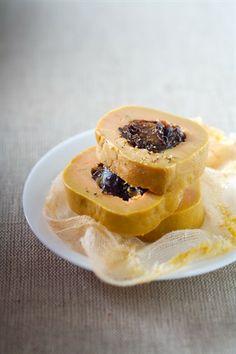 Foie gras aux pruneaux cuit au sel - Larousse Cuisine. Foie gras with prunes - the foods of the Lot region.