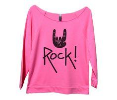 Rock On Womens 3/4 Long Sleeve Vintage Raw Edge Shirt