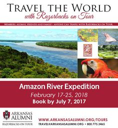 This once-in-a-lifetime journey features a cruise into the mysterious Amazon River Basin aboard the deluxe all-Suite M.V. ZAFIRO and two nights in historic Lima, Peru. Led by expert naturalists, seek out rare indigenous species and visit local villages to observe the traditions of the ribereños (river people). Machu Picchu and Sacred Valley Post-Tour Option. #RazorbacksOnTour