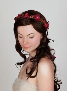 Woodland Wedding Floral Crown - Boysenberry Pink Flowers, Pine Cones - Hair Wreath, Head Piece, via Etsy.