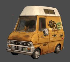 Ford Econoline by Mike Ho on ArtStation. Ford Gt, Mad Max, Car Animation, Low Poly Car, Maserati, Cars Vintage, Car 3d Model, Cool Vans, Audi Tt