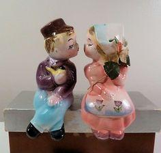 Ceramic Salt Pepper Shelf Sitters Boy Girl Kissing 1950s | eBay