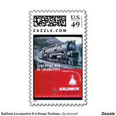 """Baldwin Locomotive S-2 Steam Turbine Locomotive Postage Stamps $23.75 per sheet of 20: #stanrail -  Medium, 2.1"""" x 1.3"""" Make each letter a special delivery! Put a personal touch on your mail, or share this useful gift with friends and family. Zazzle's medium custom stamps fit especially well on greeting card or RSVP envelopes.  Landscape: 2.1"""" x 1.3"""" (image: 1.4"""" x 1.1"""").  @stanrails_store"""